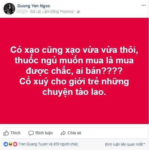 Pha Lê quẫn trí uống thuốc ngủ tự tử, Dương Yến Ngọc lên tiếng mỉa mai
