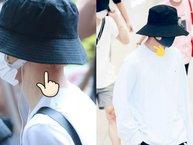 Dù bịt kín mít tại sân bay, V (BTS) và Jimin vẫn khiến fan lo lắng khi xuất hiện với vết bầm trên cổ