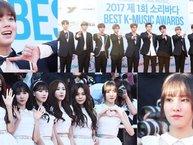"""Thảm đỏ Soribada Best K-Music Awards 2017: Wanna One cực bảnh trai, GFriend xinh đẹp lộng lẫy cùng """"khai pháo"""" mùa lễ trao giải KPOP cuối năm"""