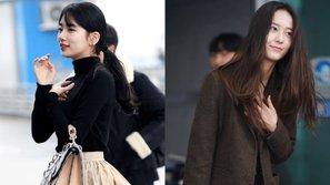 Cùng xuất hiện ngoài sân bay, Suzy và Krystal khiến dân tình