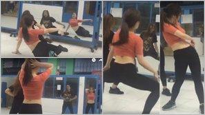 Hương Tràm khoe vũ đạo gợi cảm trong phòng tập