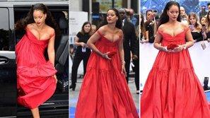 """Rihanna bị chỉ trích vì mặc váy phản cảm, """"làm loạn"""" buổi ra mắt phim mới"""