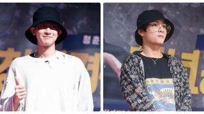 Không hẹn mà gặp, Chanyeol và V cùng diện mũ đôi đến sự kiện