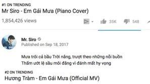 Cuối cùng thì sau 3 tuần 'on top', Hương Tràm đã ngậm ngùi nhường lại vị trí #1 trending YouTube cho Mr. Siro                                                                   0