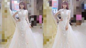 Hình ảnh đầu tiên về bộ váy đính 8.000 viên pha lê Khởi My sẽ diện trong đám cưới