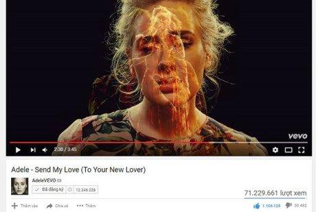 """MV """"Send my love của Adele"""" được 70 triệu lượt xem sau một tháng ra mắt"""