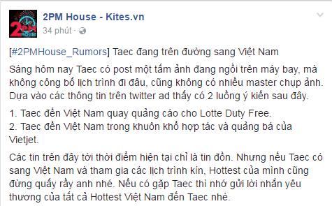 Taecyeon (2PM) đến Việt Nam