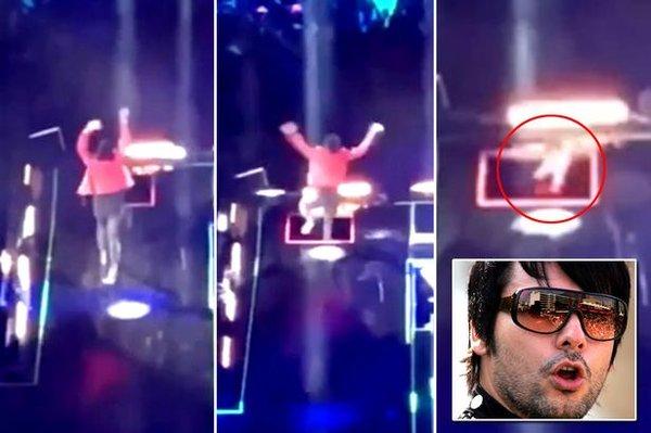Diễn quá sung, HLV The Voice bất ngờ lọt hố trên sân khấu concert ở Mexico