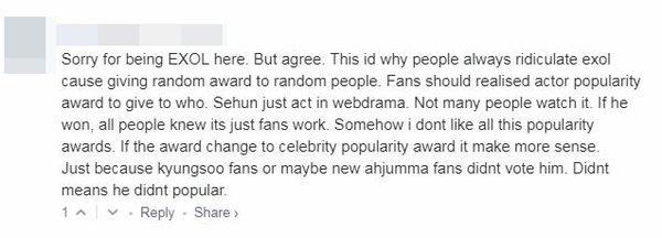 netizen chỉ trích EXO-L sau chiến thắng của Sehun tại AAA 2018